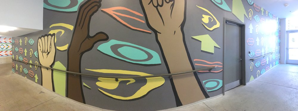 Full panoramic view of Artworks mural in 8 Commerce Parking Ramp