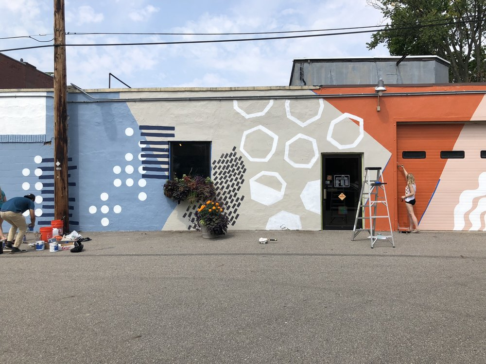 UICA Outside Creston mural in progress
