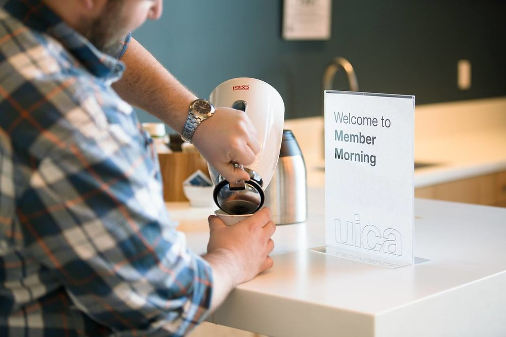 Guest pouring coffee