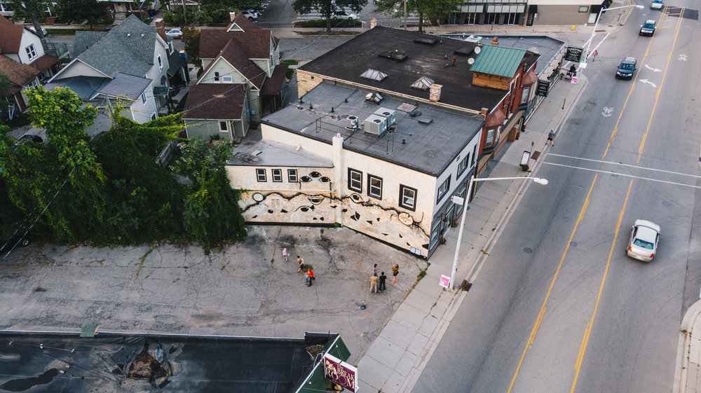 Drone shot of Roanhorse mural