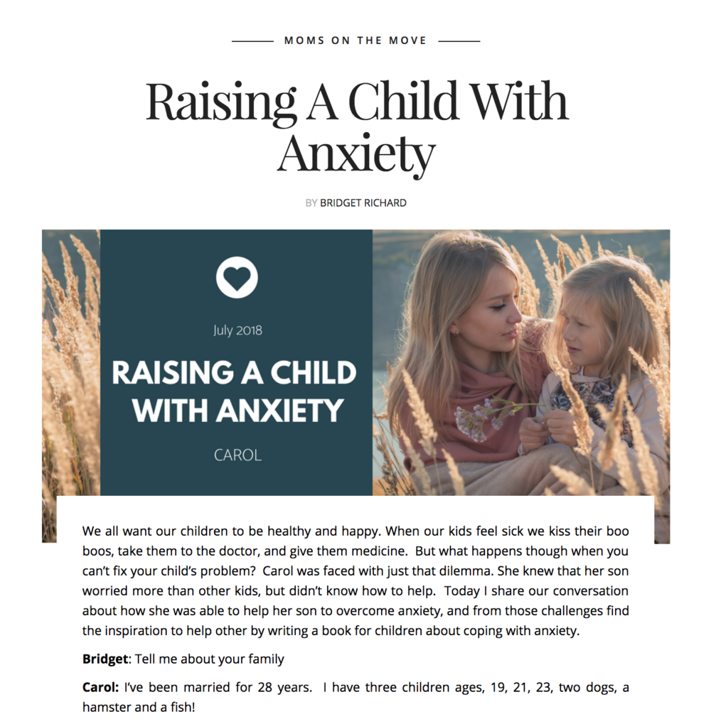 Raising A Child With Anxiety - An Interview with author Carol Wulff by Bridget Richard of Influentialparent.com