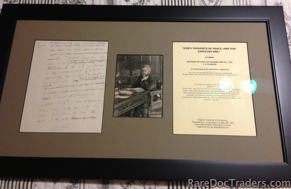 Framed Sample of the sermon manuscript page with accompanying typed manuscript. -