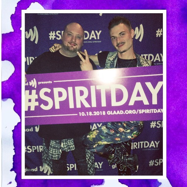 Sometimes I dunno why he hangs out w/ me but whatever, it's inspiring to see an icon in the making like @pcrowl06 of @billboardpride take over the world. #spiritday