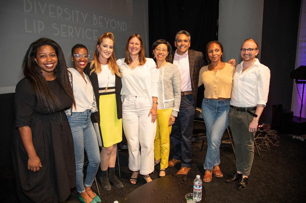 Left to right: Julia Weatherspoon (moderator), panelists Tamyra Walker, Clair Farley, Anna Muessig, Rosa Sheng, Chris Iglesias, co-organizers Morgan Pegus-Thomas and Nick Ross