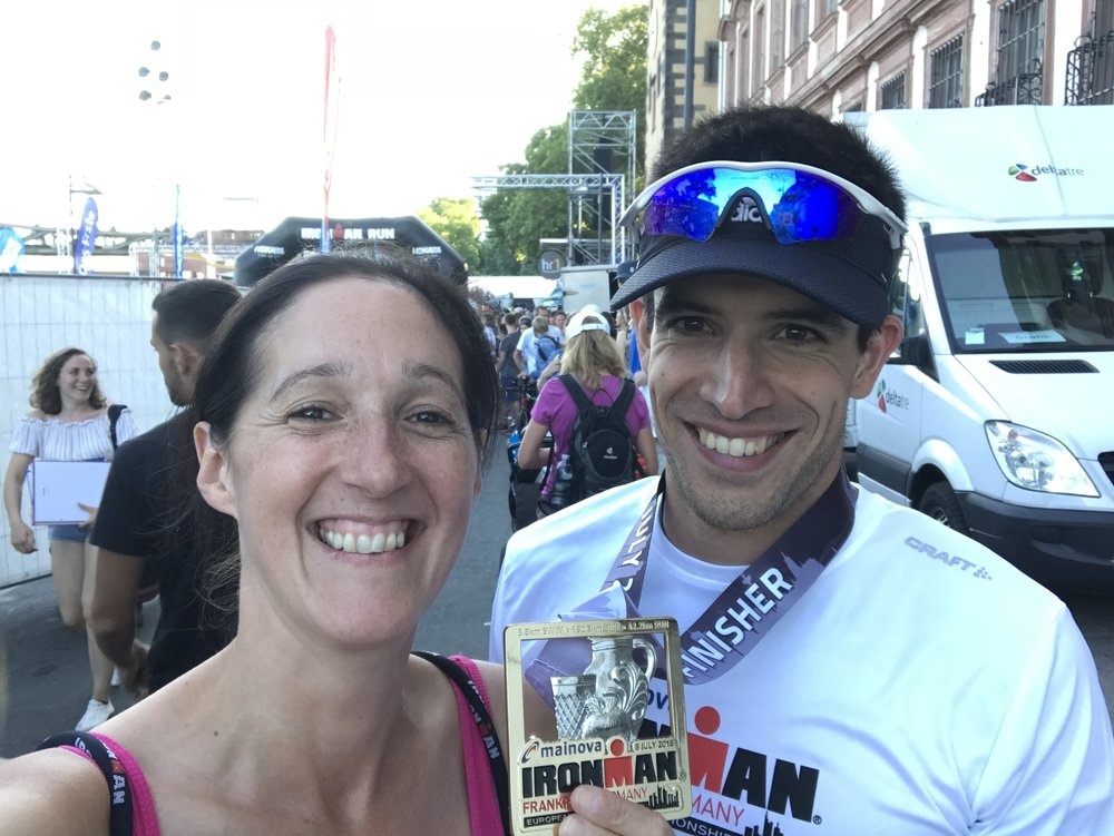 My client and friend, Adrian, asked me to accompany him to Ironman Frankfurt European Championships as his sports massage therapist, driver, support crew and cheerleader. This was his 3rd Ironman and he knocked over 30 minutes off his PB!