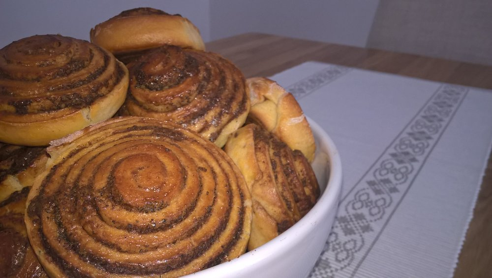 Handmade cinnamon spirals. directly from oven with cold milk or coffee.