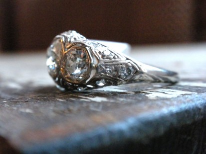 platinum and diamond vintage three stone ring