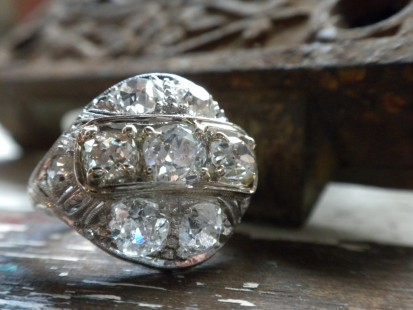 Finely made early 1900's old european and mine cut ring