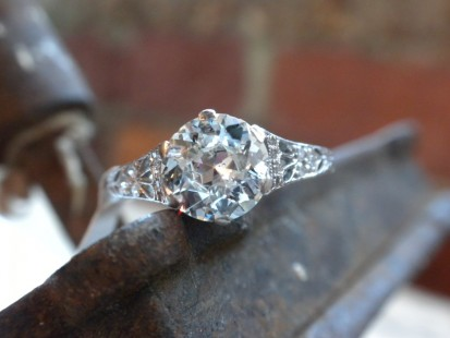 Feminine old european cut diamond engagement ring