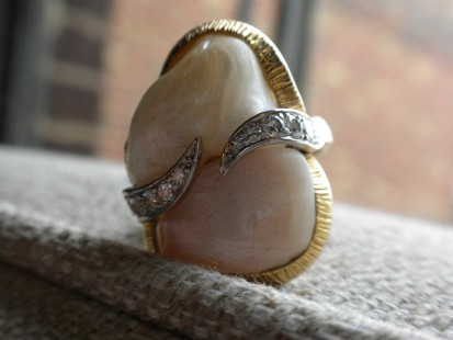 Freeform Vintage Ruser fresh water pearl ring