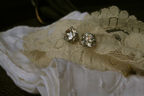 Antique basket set diamond studs
