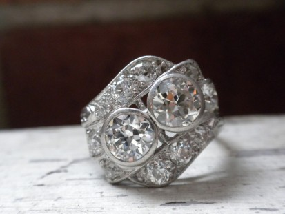 Platinum and diamond right hand ring