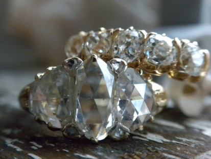 Edwardian and Victorian era Rose cut and mine cut diamond rings