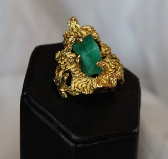 Rough cut Columbian emerald ring