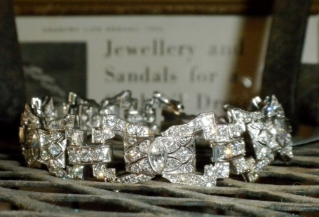 stunning deco platinum and diamond bracelet
