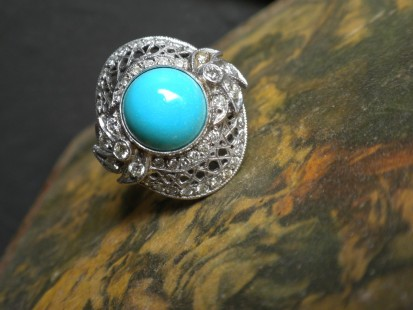Persian turquoise and diamond detail fashion ring