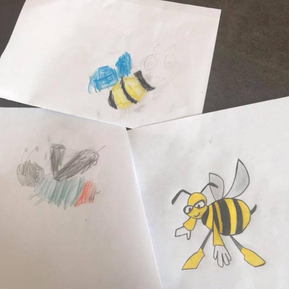 Amy, Henry und Kirsten malten diese tollen Bilder
