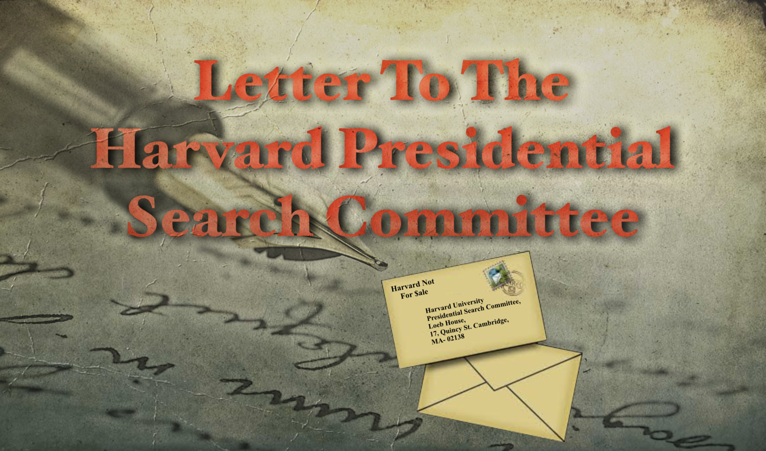Letter To The Harvard Search Committee Harvard Not For Sale