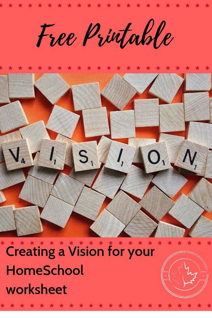 Printable Worksheet Vision for Homeschool
