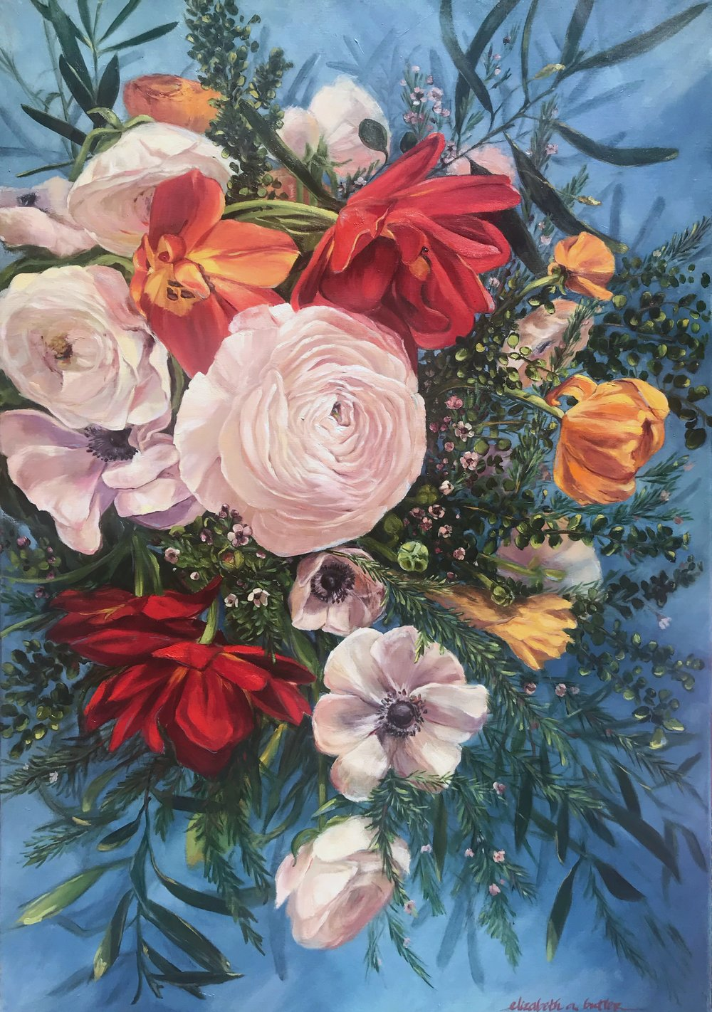 Extravagance in Bloom; Ranunculus, Red Tulips, and Anemones