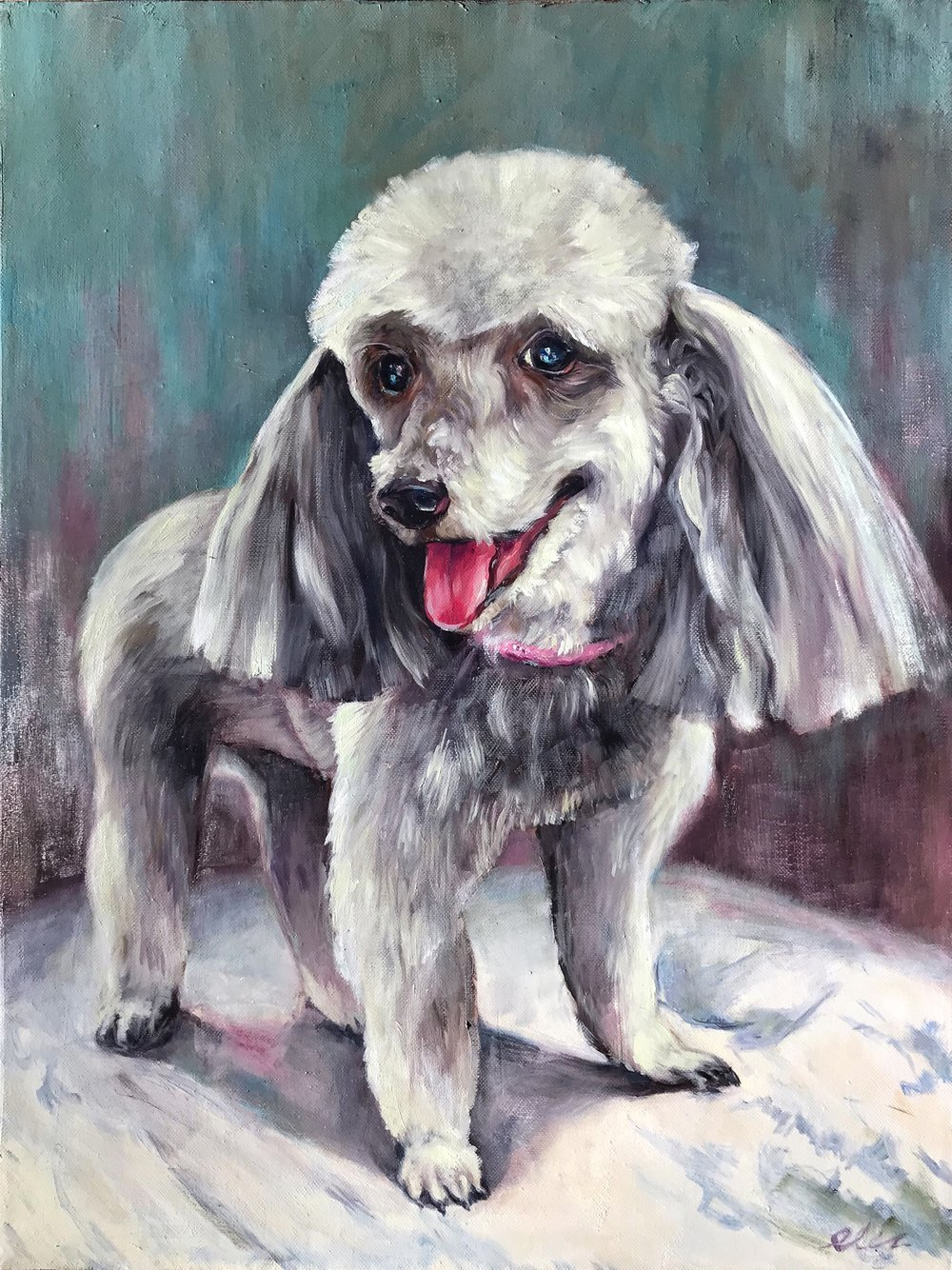 Pet Portrait; Original Oil Painting of the Sassy Poodle Shadow
