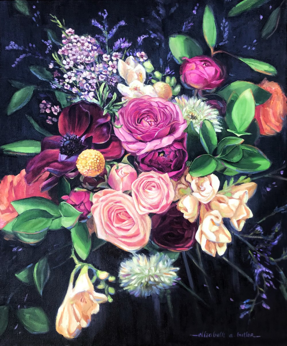 Bright Floral Bouquet on a Dark Background