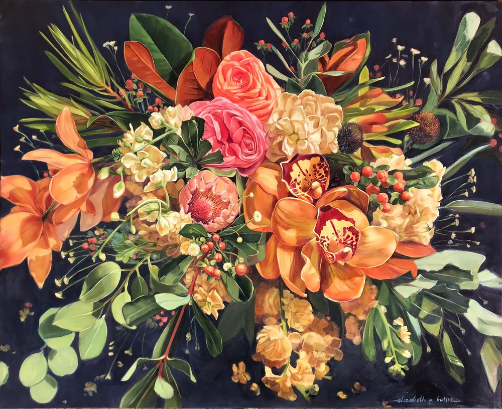 Tropical Bouquet / Orchids, Berries, Protea