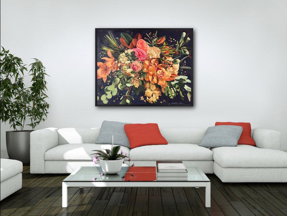 """Tropical Bouquet  48""""x60"""""""