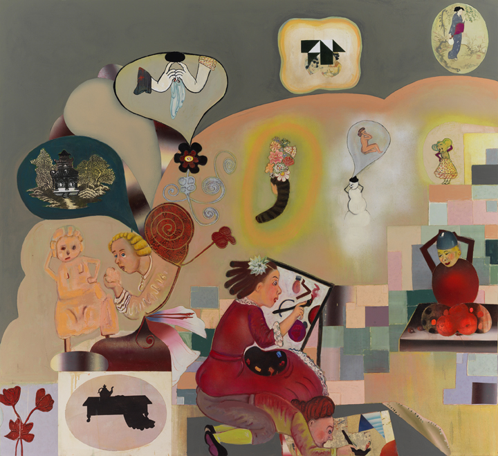 """3 Dilettante Artists (The Love of Outsiders), 64"""" × 70"""", mixed media and collage on canvas, 2013"""