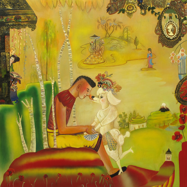 "A Shimmering Ache, 60"" × 60"", mixed media and oil on canvas, 2010"