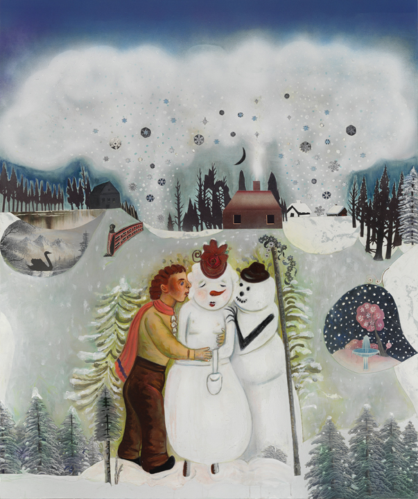 "A Winter Interlude (love at first sight), 66"" × 54"", mixed media and collage on canvas, 2013"