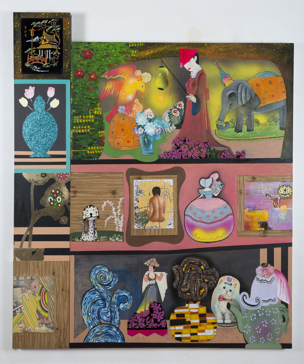 """The Collector's Wife's Collection (All That She Owns), 60"""" × 71"""", mixed media and collage on canvas, 2016"""
