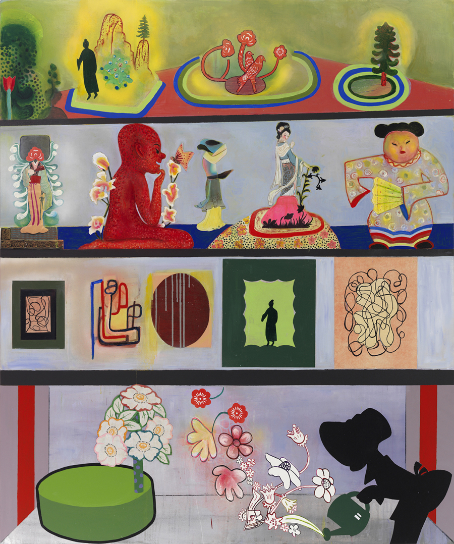 """The Collector's Collection, (all that he owns!), 72"""" × 60"""", mixed media and collage on canvas, 2014"""