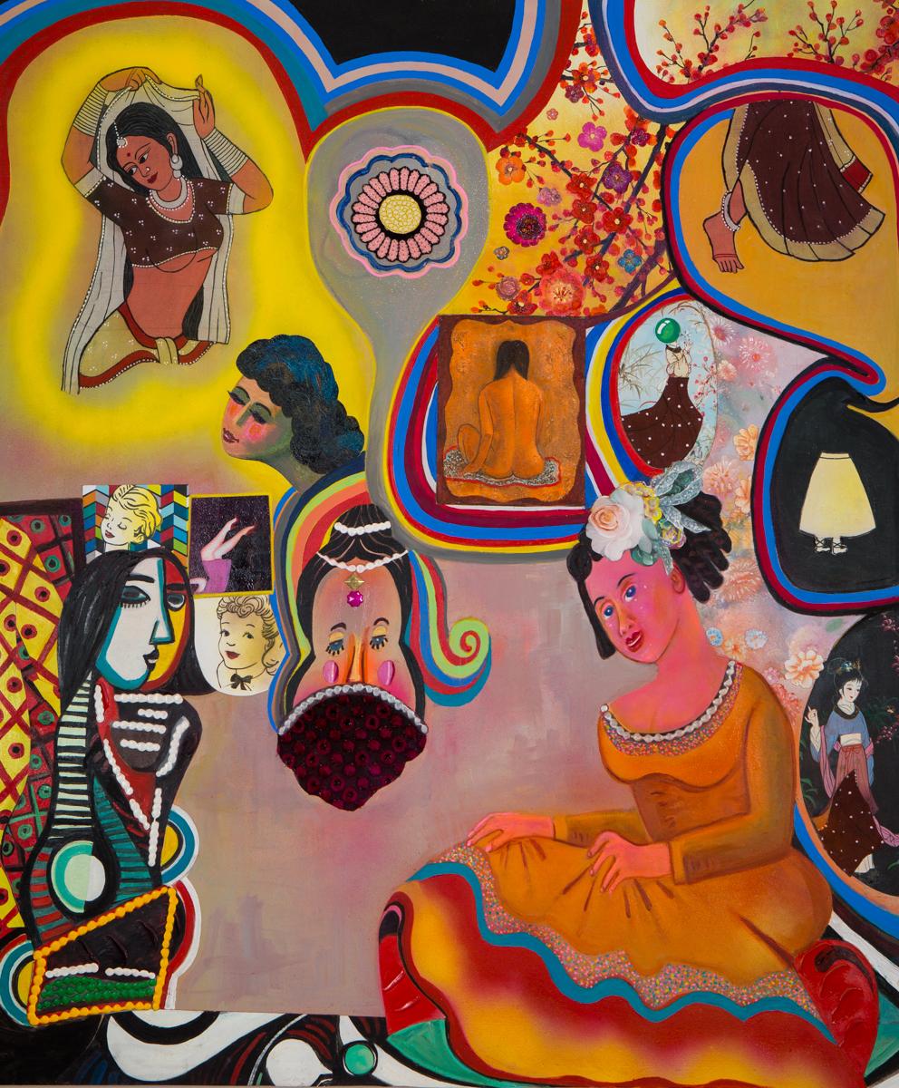 "Ladies in Waiting (Kiss, Kiss, Kiss), 60"" × 50"", mixed media on canvas, 2017"