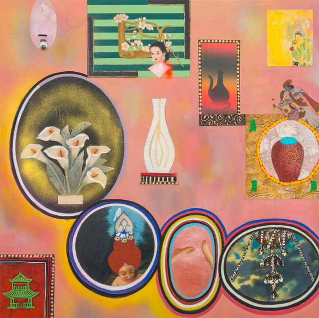 """Flaubert's Collection (Madame Bovary's Peach Wall By The Red Chinese Chair), 48"""" × 48"""", mixed media and collage on canvas, 2016"""
