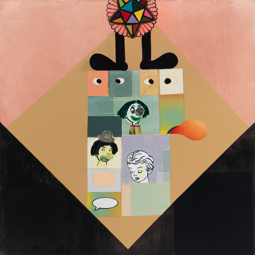 """In Praise Of Folly—Melancholy Abstraction, 36"""" × 36"""", mixed media and collage on canvas, 2013"""
