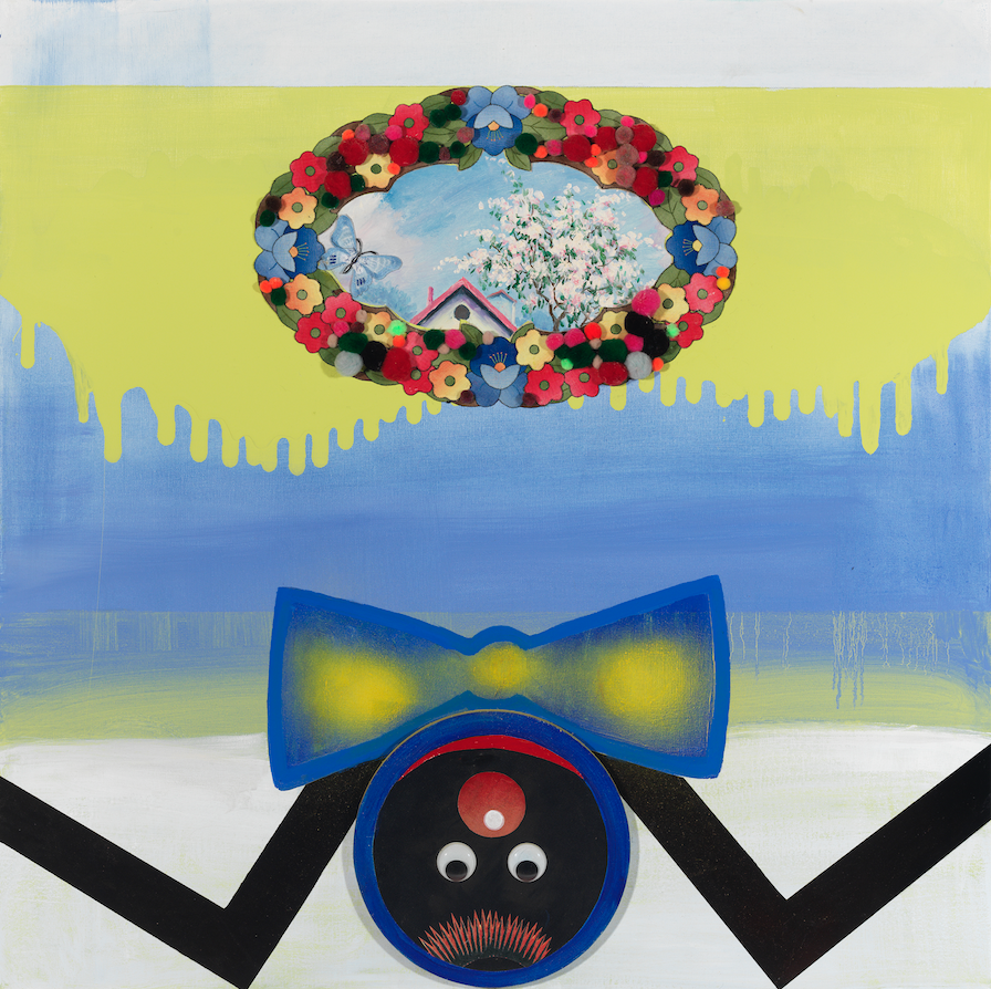"""In Praise Of Folly—Spider, 36"""" × 36"""", mixed media and collage on canvas, 2013"""