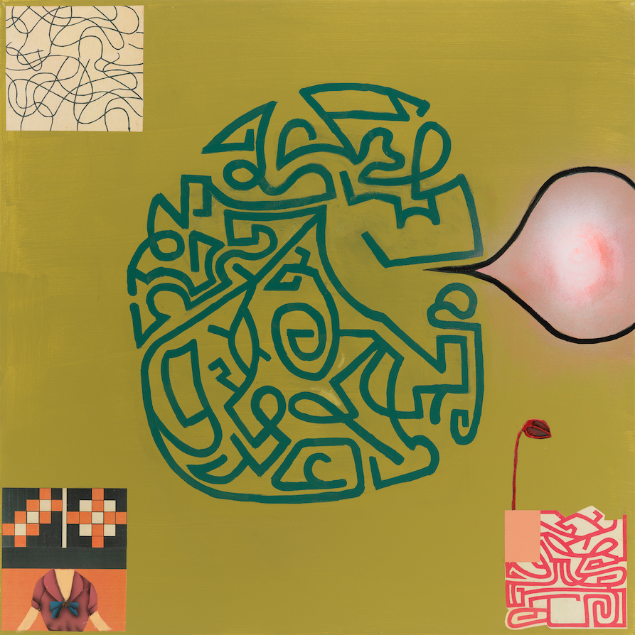 """In Praise Of Folly—The Maze Speaks, 36"""" × 36"""", mixed media and collage on canvas, 2013"""