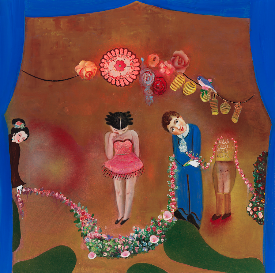 """In Praise Of Folly—The Garland Presenter, 36"""" × 36"""", mixed media and collage on canvas, 2013"""