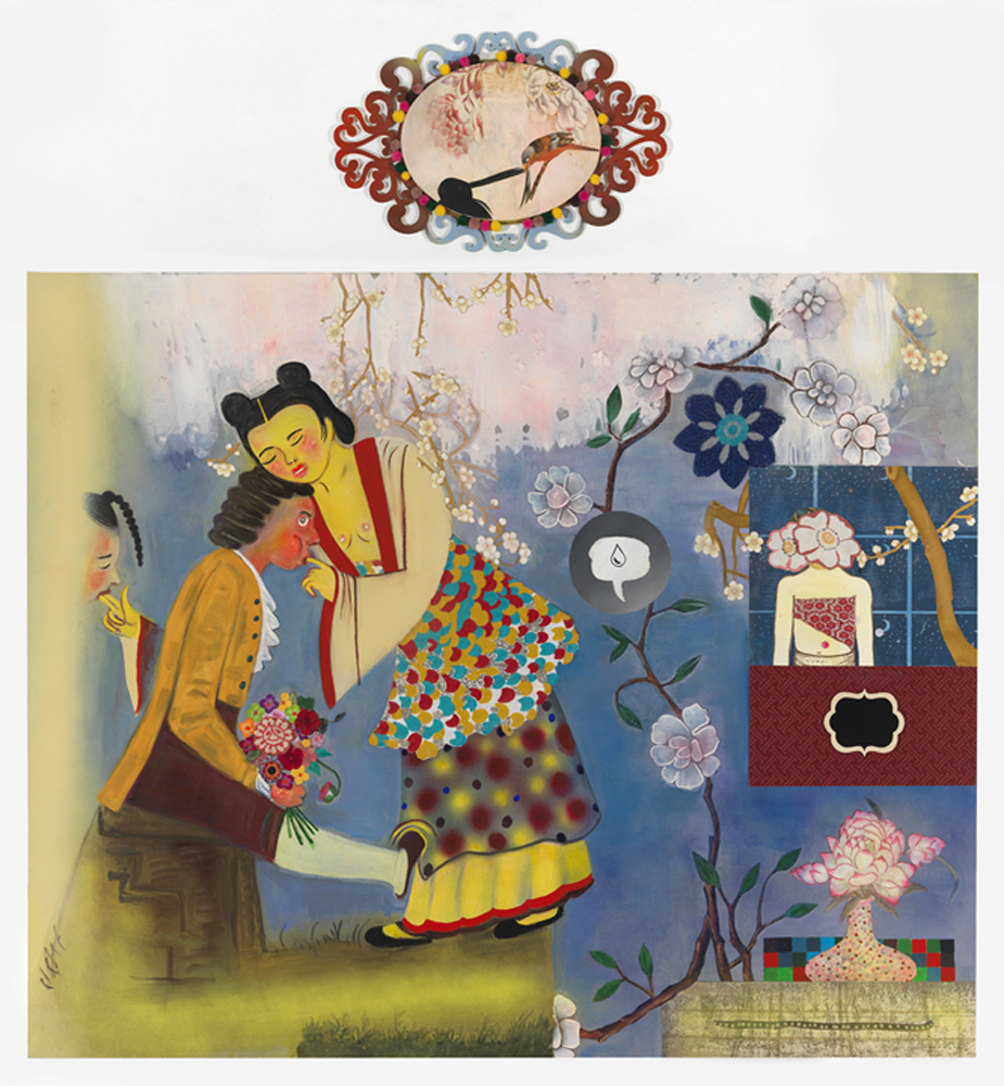 """The Apprentice Geisha, 72"""" × 66"""", mixed media and collage on canvas, 2014"""