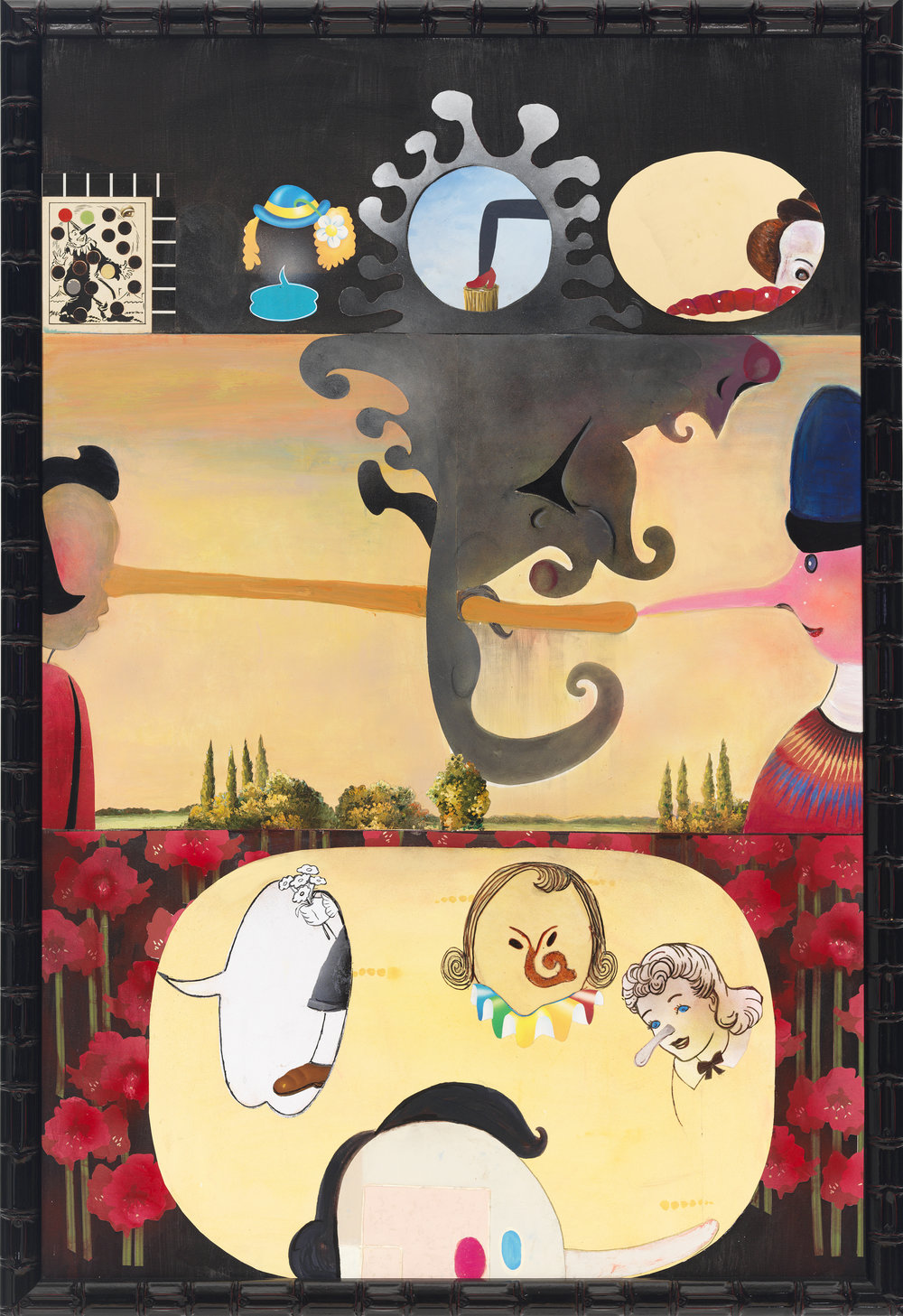 "Pinocchio and Pinocchietta, 60"" × 40"", mixed media and collage on canvas, 2012"
