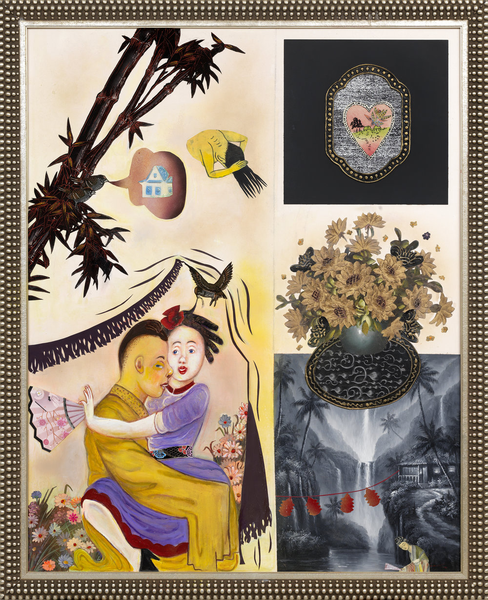 """Promiscuous Joinings I, 66"""" × 54"""", mixed media and collage on canvas, 2012"""