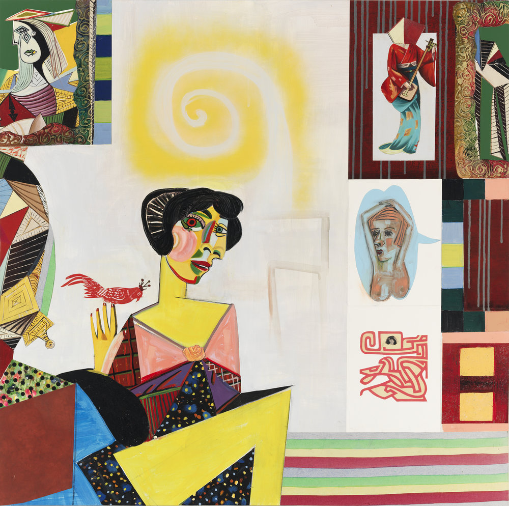 """icassoisms (Femme Fatales #1), 48"""" × 48"""", mixed media and collage on canvas, 2013"""