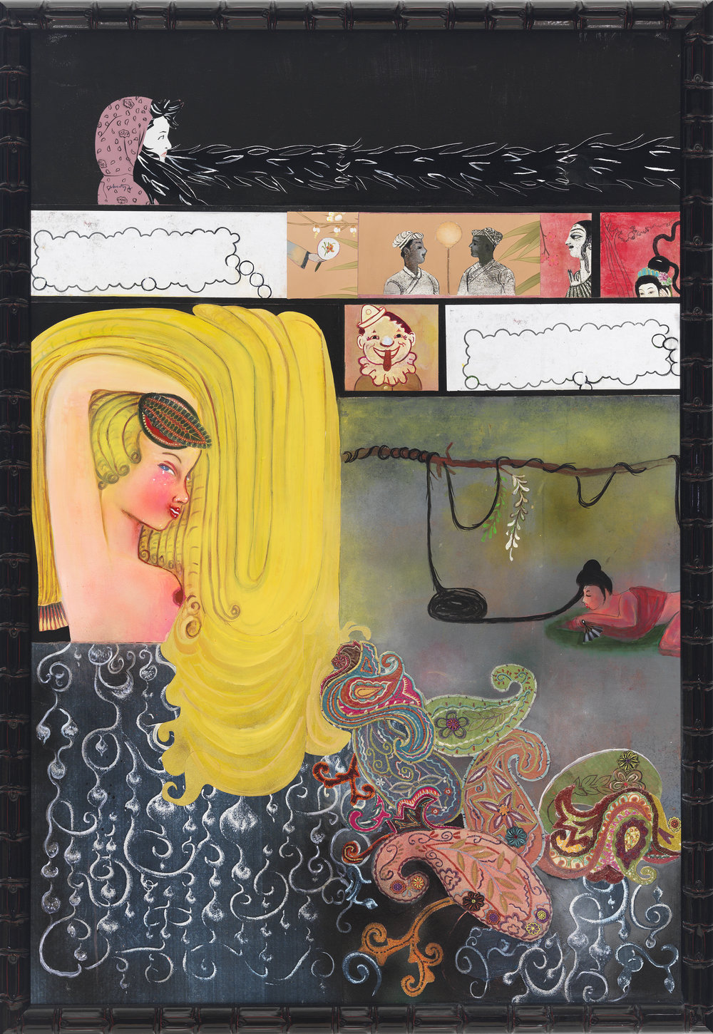"""Rapunzel, 60"""" × 40"""", mixed media and collage on canvas, 2012"""