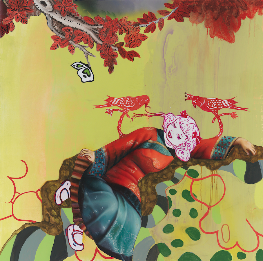 """Sleeping Beauty (Springtime Story), 36"""" × 36"""", mixed media and collage on canvas, 2013"""