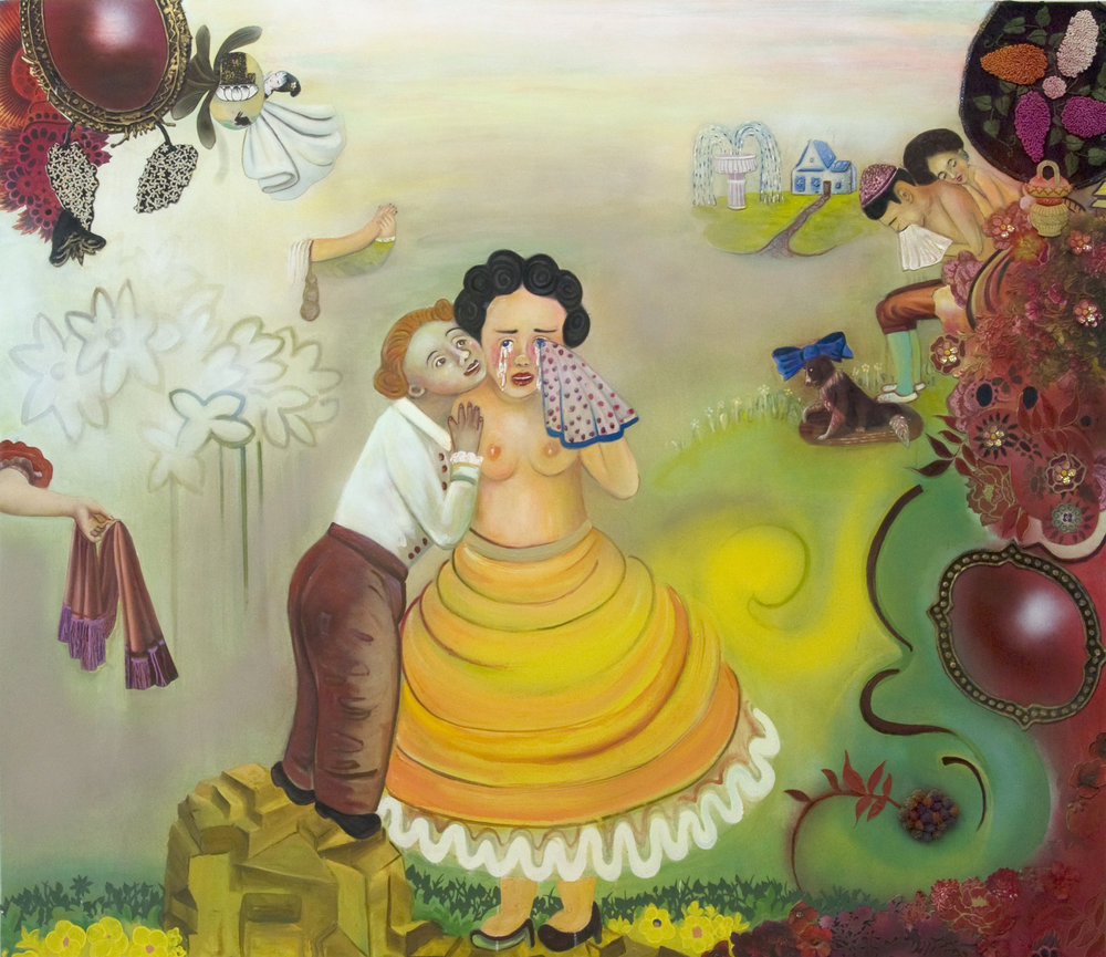 "The Secret Life of People Who Care, 60"" × 70"", mixed media and oil on canvas, 2010"