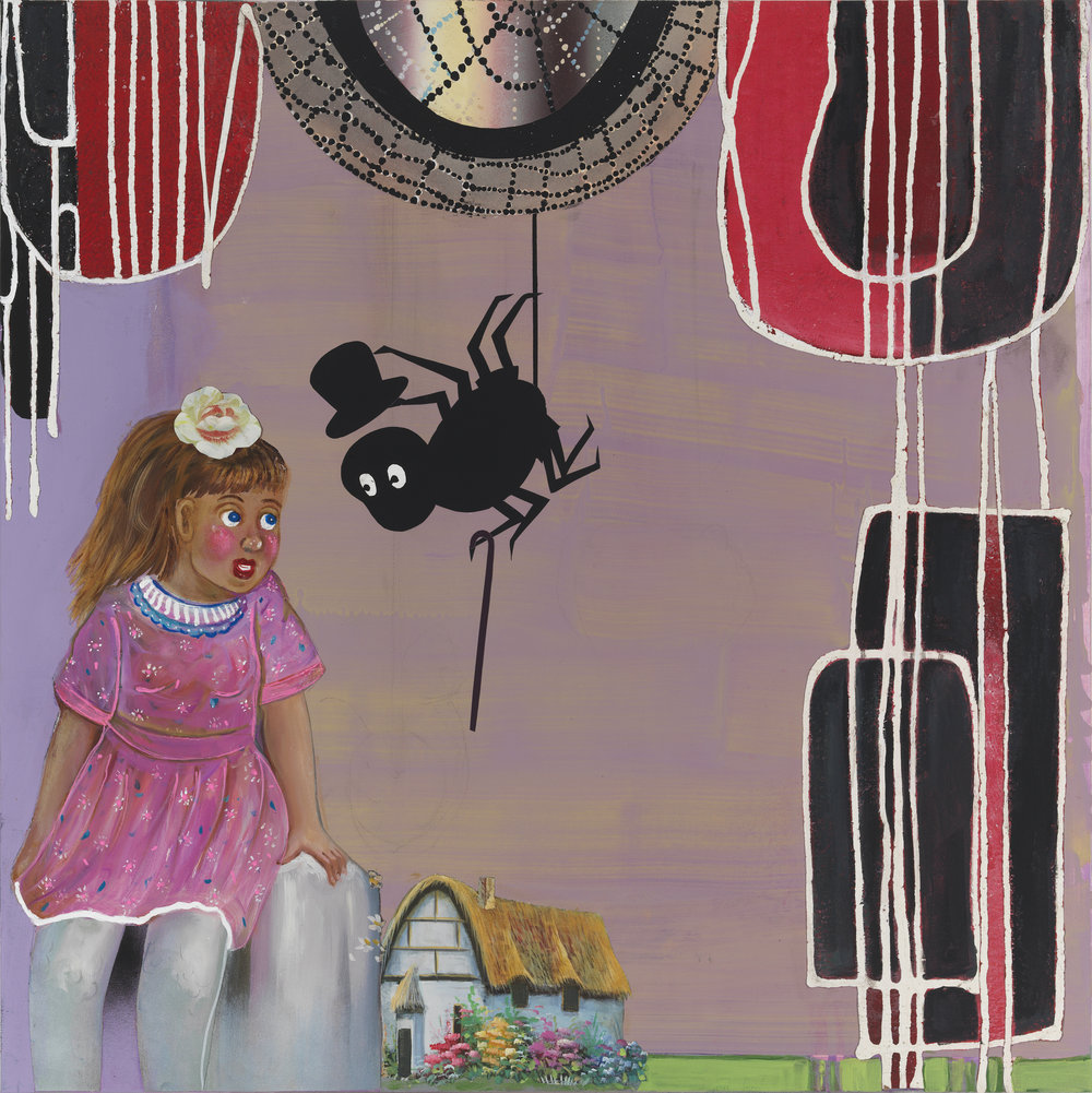 """Little Miss Muffet...The Spider Came a Courting, 36"""" × 36"""", mixed media and collage on canvas, 2013"""