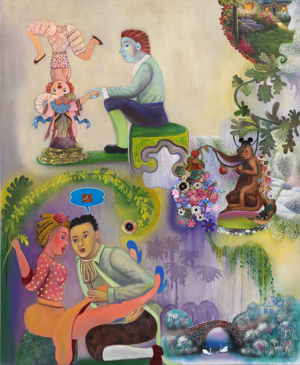"""Paramours and Mischief (in the Afternoon), 67"""" × 54"""", mixed media and collage on canvas, 2011"""