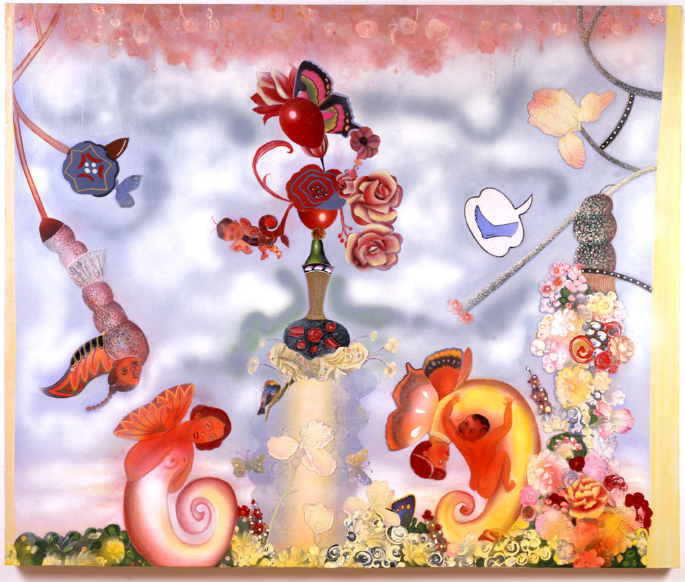 "A Blink and a Nod in the Garden, 60.5"" × 84"", mixed media on canvas, 2002"