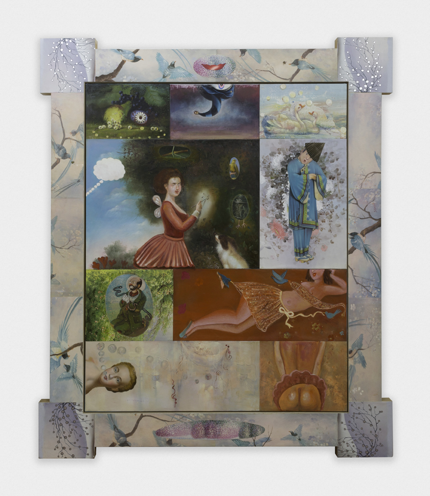 "16 Pleasures I, 76"" × 64"", mixed media on canvas, 1996"